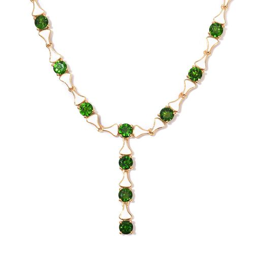 GP - Russian Diopside and Blue Sapphire Enamelled Necklace (Size 18) in 14K Gold Overlay Sterling Si