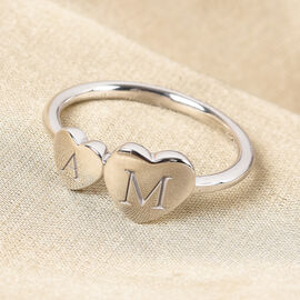 Personalised Engraved Two Heart Initial Ring