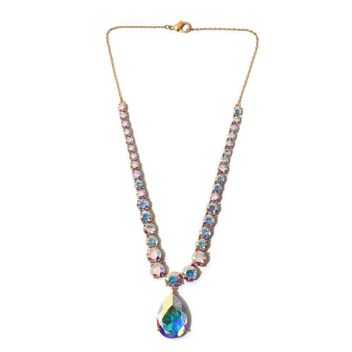 J Francis Crystal from Swarovski AB Crystal Necklace (Size 18) in Gold Tone