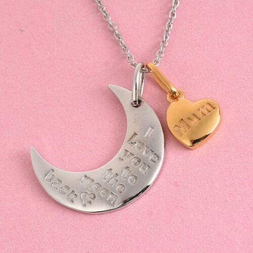 Platinum and Yellow Gold Overlay Sterling Silver Crescent Moon & Mum Pendant With Chain (Size 18), S