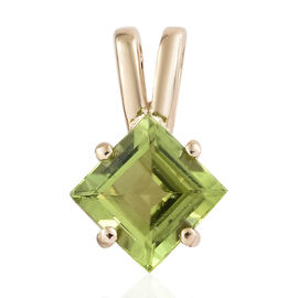 9K Yellow Gold AAA Hebei Peridot (Sqr) Solitaire Pendant 1.700 Ct.