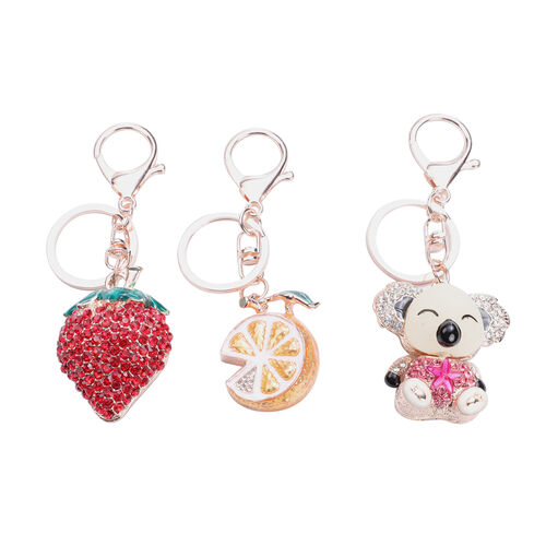 Set of 3 White, Pink and Red Austrian Crystal and Multi Gemstone Strawberry, Orange and Koala Enamel