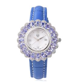 EON 1962 Swiss Movement Tanzanite and Natural White Cambodian Zircon Watch with Blue Genuine Leather