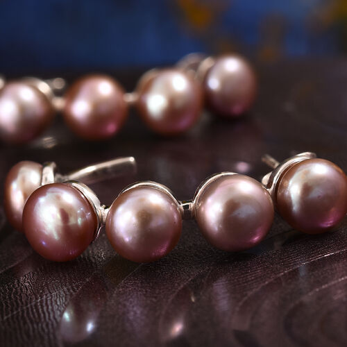 Freshwater Pink Pearl (Rnd) Earrings (with Push Back) in Sterling Silver