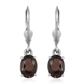 AA Brazilian Smoky Quartz (Ovl) Lever Back Earrings in Platinum Overlay Sterling Silver 2.250 Ct.