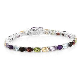 Rose De France Amethyst (Ovl), Sky Blue Topaz and Multi Gemstone  Bracelet (Size 7.5) in Platinum Overlay Sterling Silver 13.500 Ct. Silver wt 11.95 Gms.