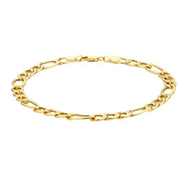 9K Yellow Gold Diamond Cut Figaro Bracelet (Size 7.5)