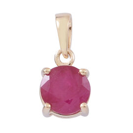 9K Yellow Gold AA Burmese Ruby (Rnd) Solitaire Pendant 1.000 Ct.
