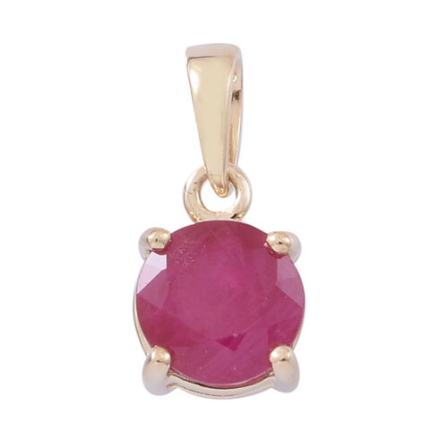 1 Ct AA Burmese Ruby Solitaire Pendant in 9K Yellow Gold