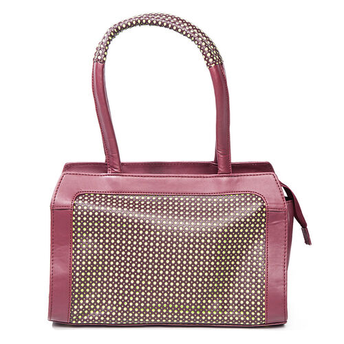 Cherry Faux Hand Bag With Lime Spots