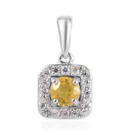 9K White Gold AA Yellow Sapphire (Rnd), Natural Cambodian Zircon Pendant 0.65 Ct.