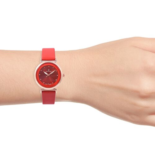 STRADA Japanese Movement Water Resistant Watch with Red Colour Strap