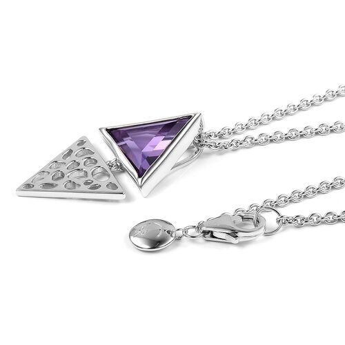 RACHEL GALLEY Amethyst (Triangle) Lattice Pendant with Chain (Size 20) in Rhodium Plated Sterling Silver