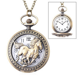 STRADA Japanese Movement Horse Pattern Water Resistant Pocket Watch with Chain (Size 30)