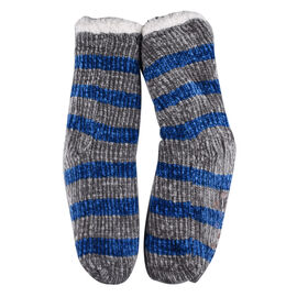 DOD- Elizabeth Rose Chenille Stripes Chunky Socks - Blue