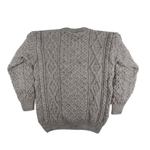 ARAN 100% Pure New Wool Sweater (Size XS) - Grey