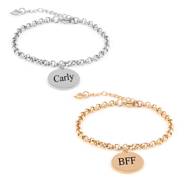 """Personalise Engravable Disc Charm Bracelet in Stainless Steel 8.5"""""""