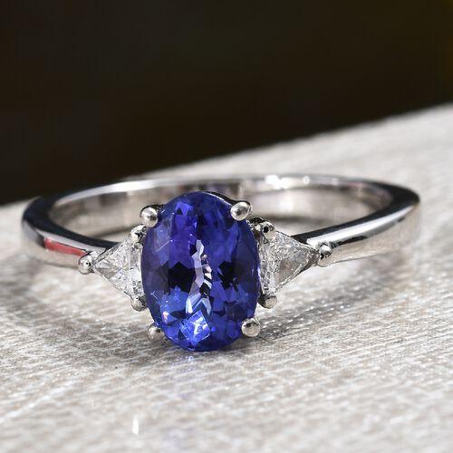 RHAPSODY 950 Platinum AAAA Tanzanite (Ovl), Diamond (VS/E-F) Ring 1.30 Ct.