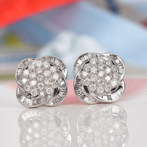 9K White Gold SGL Certified Diamond (I2-I3/G-H) Stud Earrings (with Push Back) 0.50 Ct.