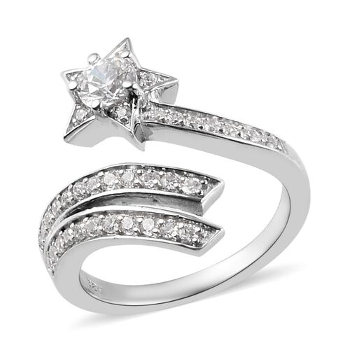 J Francis - Platinum Overlay Sterling Silver Shooting Star Ring Made with SWAROVSKI ZIRCONIA 1.48 Ct