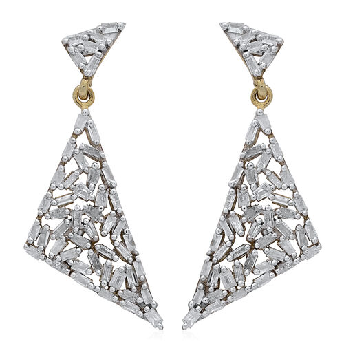 GP Diamond (Bgt), Kanchanaburi Blue Sapphire Earrings (with Push Back) in 14K Gold Overlay Sterling