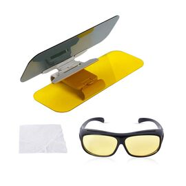 Set of 2 : 2-in-1 HD Visor and Night-Vision Glasses - Grey, Yellow and Black