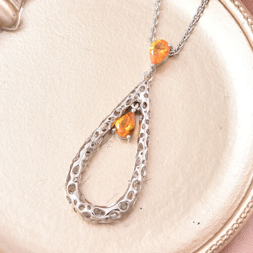 RACHEL GALLEY Misto Collection - Jalisco Fire Opal Latticework Pendant with Adjustable Chain (Size: 18/20/30) in Rhodium Overlay Sterling Silver, Silver wt. 11.65 Gms