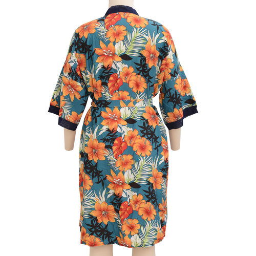 Designer Inspired- Red, White, Emerald Green and Multi Colour Flower Pattern Robe with Navy Blue Trim (Size 108x70 Cm)