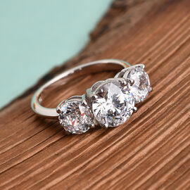 Swarovski Zirconia  3 Stone Ring in Platinum Overlay Sterling Silver 6.00 ct  6.000  Ct.