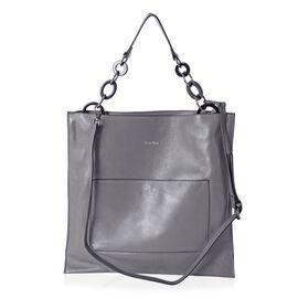 SENCILLEZ Super Soft 100% Genuine Leather Grey Colour Tote Bag with Removable Shoulder Strap (Size 4