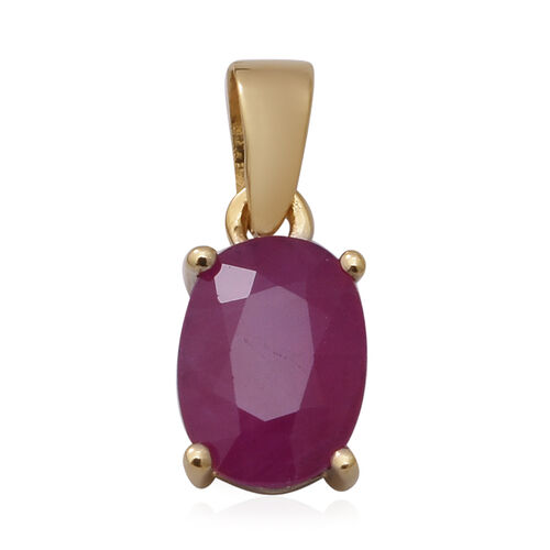 9K Yellow Gold Burmese Ruby(Ovl7x5) Solitaire Pendant 1.00 Ct.
