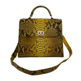 LA MAREY 100% Genuine Python Leather Satchel Bag with Detachable Shoulder Strap (Size 30x25x13cm) -