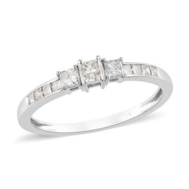9K White Gold SGL Certified Diamond (I3/I-J) Ring 0.50 Ct.