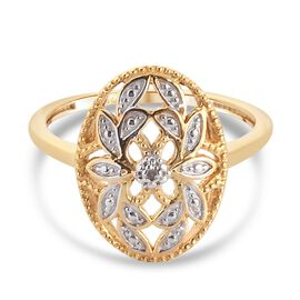 White Diamond Ring in 14K Gold Overlay Sterling Silver