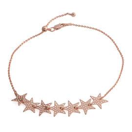 Rose Gold Overlay Sterling Silver Adjustable Star Anklet (Size 10)