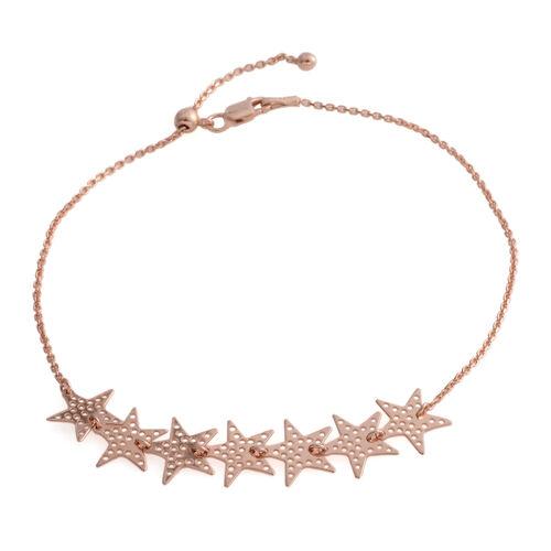 Rose Gold Overlay Sterling Silver Adjustable Star Bracelet or Anklet (Size 7 - 10 Inches)