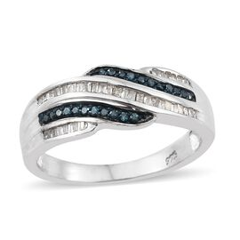 0.33 Ct White and Blue Diamond Cluster Ring in Platinum Plated Sterling Silver