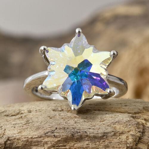 J Francis - Crystal from Swarovski - Swarovski AB Crystal Stellaris Cut Ring in Platinum Overlay Sterling Silver