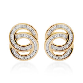 9K Yellow Gold SGL Certified Diamond (Rnd) (I3/G-H) Twin Circle Earrings (with Push Back) 0.500 Ct.