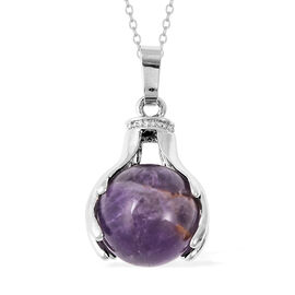 35.50 Ct Amethyst Solitaire Pendant with Chain in Stainless Steel