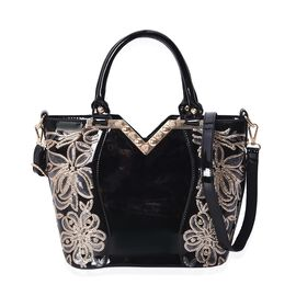 Designer Inspired - Sequin Floral Pattern Tote Bag with Detachable Shoulder Strap and Zipper Closure