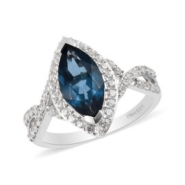 London Blue Topaz and Natural Cambodian Zircon Marquise Ring in Platinum Overlay Sterling Silver 2.7