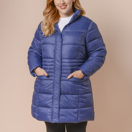 Winter Puffer Jacket with Middle Zip In Blue