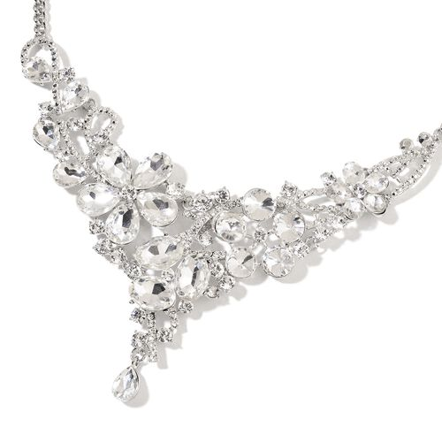 Simulated Diamond and White Austrian Crystal Flower Necklace (Size 22 with 2 inch Extender) in Silver Tone