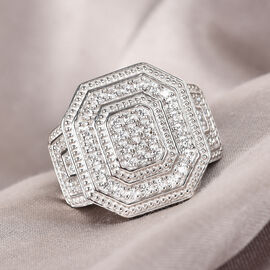 J Francis Platinum Overlay Sterling Silver Cluster Ring Made with SWAROVSKI ZIRCONIA 1.46 Ct, Silver wt 9.24 Gms