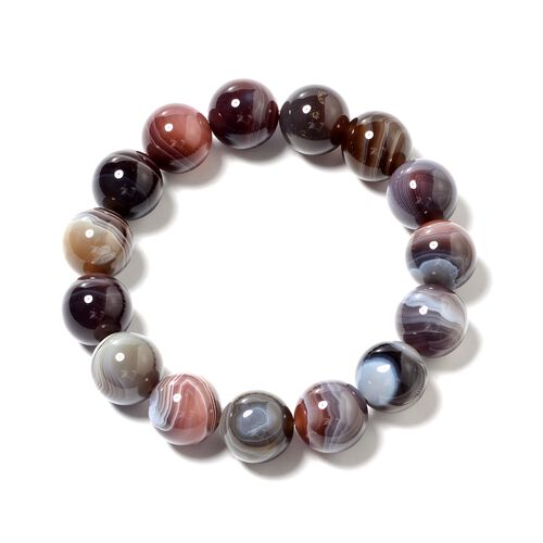 One Time Deal - Botswana Agate (Rnd 13-15 mm) Beads Adjustable Bracelet (Size 6.75) 290.000 Ct.