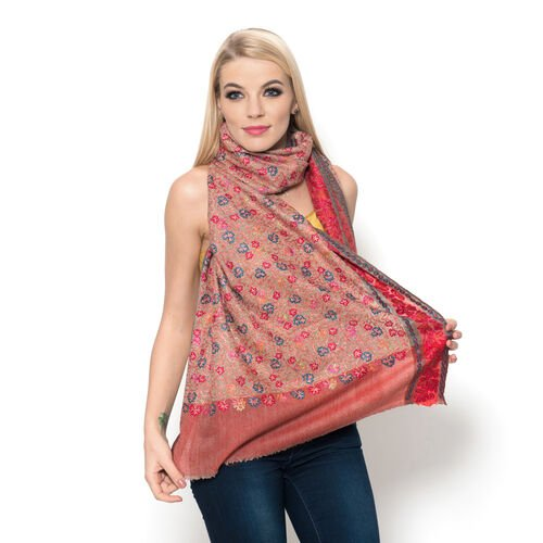 100% Merino Wool Flowers Embroidered Red and Multi Colour Scarf (Size 200x70 Cm)