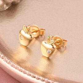 RACHEL GALLEY - Natural Cambodian Zircon Apple Stud Earrings (with Push Back) in Yellow Gold Overlay