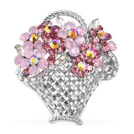 Simulated Pink Diamond and Multi Colour Austrain Crystal Flower Basket Brooch in Silver Plated