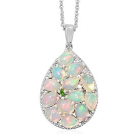 Ethiopian Welo Opal (Ovl and Pear), Russian Diopside and Natural Cambodian Zircon Pendant with Chain (Size 18) in Platinum Overlay Sterling Silver 3.500 Ct. Silver wt 5.60 Gms.